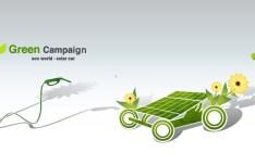 Green ECO World Campaign Solar Car Vector