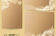 Set of Vector Sweet Champagne Cards with Flowers Backgrounds 01