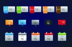 Set OF Vector Colored Infographic Calendar Labels 03
