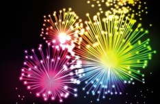 Colorful & Bright Fireworks Background Vector 03