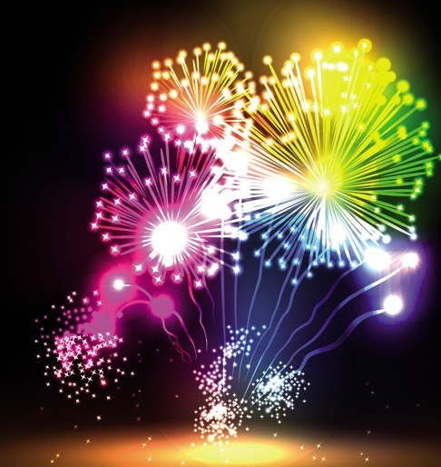 Free Colorful Bright Fireworks Background Vector 04 TitanUI