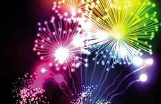 Colorful & Bright Fireworks Background Vector 04