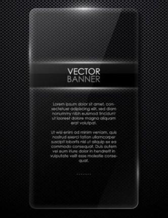 Glossy Transparent Black Banner Vector