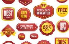Set Of Vector Simple Promotion Label Stickers 02