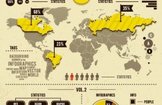 Yellow and Dark Infographic Design Elements Vector