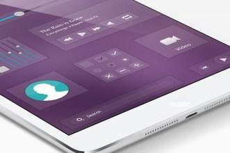 Flat Music App GUI For Mobile PSD