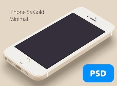 Minimal Gold iPhone 5S PSD Mockup