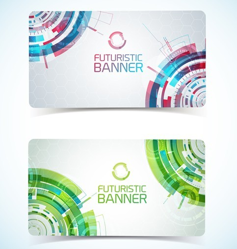 Set Of Vector Futuristic Cards with Abstract Backgrounds