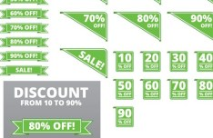 Set Of Vector Green Discount Labels and Ribbons