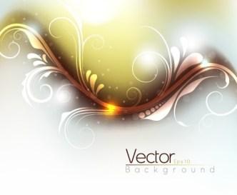 Shining Flourish Floral Background Vector 04