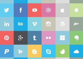24 Flat Social Media Icons Vector