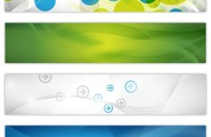 Set Of Vector Rounded Banners with Abstract Technology Backgrounds