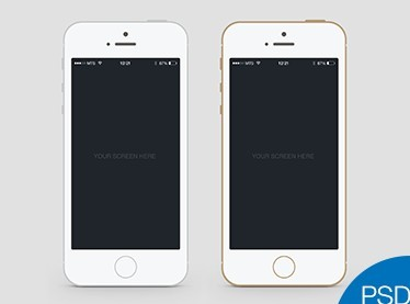 White and Gold iPhone 5S PSD Mockups