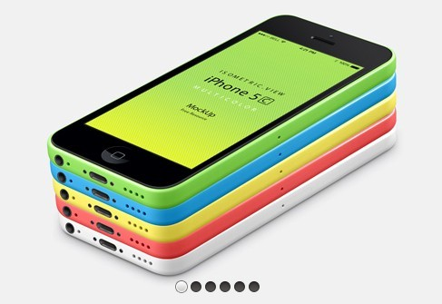 iPhone 5C 3D View Mockup PSD