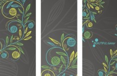 Set Of Beautiful Hand Drawn Flower Banners Vector 02