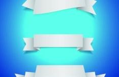 Set Of White Blank Ribbon Designs Vector 01