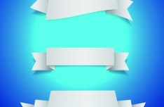 Set Of White Blank Ribbon Designs Vector 01