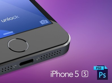 3D Grey iPhone 5S Mockup Template PSD