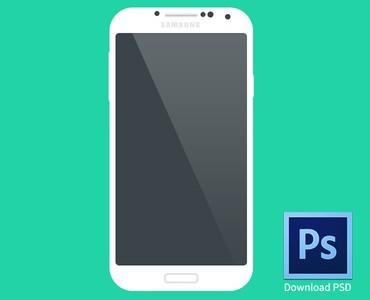 Flat Samsung Galaxy S4 Mockup PSD