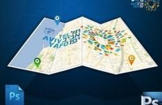 GIS Tel Aviv Logo Map PSD