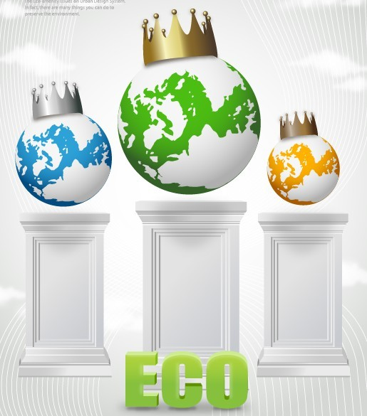 Green ECO Concept Earth with Crown Vector