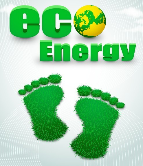 Green ECO Concept Grass Footprint Vector