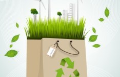 Green ECO Concept Paper Shopping Bag Vector