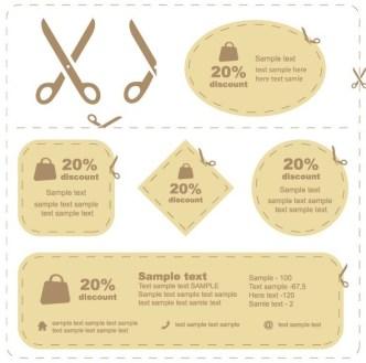 Set Of Brown Paper Discount Labels Vector