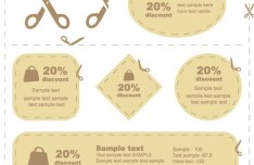Set Of Brown Paper Discount Labels Vector