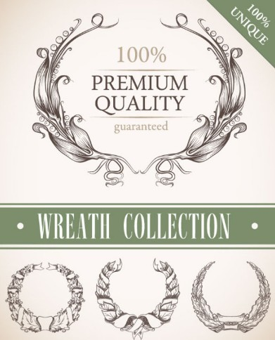 Set Of Vintage Wreath Designs Vector 03