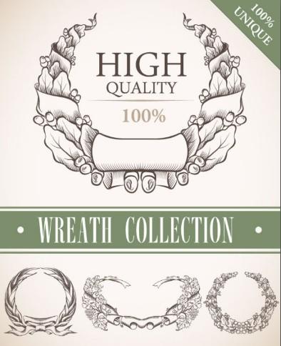 Set Of Vintage Wreath Designs Vector 05