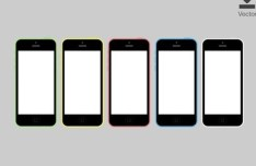 iPhone 5C Vector Template In 5 Colors