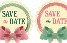 2 Vintage Wedding Save The Date Stickers with Bows Vector