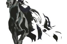 Ink Painting Galloping Horse Vector 01
