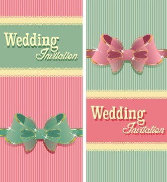 Sweet Wedding Invitation Cards With Ribbon Bows Vector 02