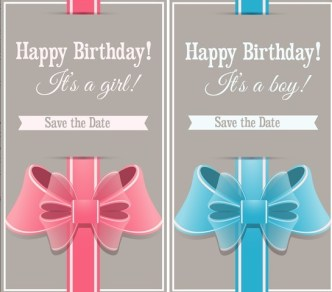 Sweet Wedding Invitation Cards With Ribbon Bows Vector 03