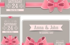 Sweet Wedding Invitation Cards With Ribbon Bows Vector 05