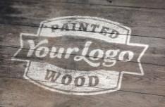 Painted Wood Logo Mockup PSD