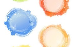 Set of Round Watercolor Frames Vector