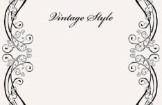 Vintage Styled Simple Dark Floral Frame Vector 01
