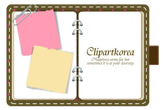 Lovely Notebook With Sticky Notes Design Vector