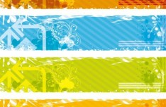 Set of Colored Grunge Floral Banners Vector 01