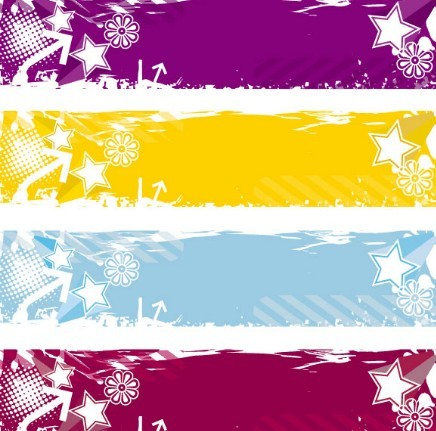 Set of Colored Grunge Floral Banners Vector 04