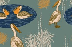 Vintage Pelicans In Water Background Vector