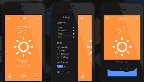 Dark and Orange Weather App For Mobile PSD