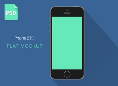 Flat iPhone 5C Mockup with Long Shadow PSD