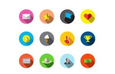 Round Long Shadow Guava Reward Icons Pack Vector