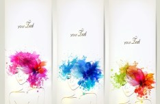 Set Of Clean Banners with Watercolor Flower Girl Backgrounds Vector 03