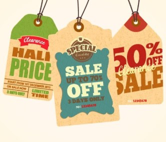 Set Of Vintage Big Sale Price Tags Vector 01