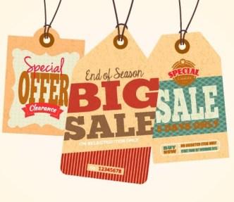 Set Of Vintage Big Sale Price Tags Vector 02